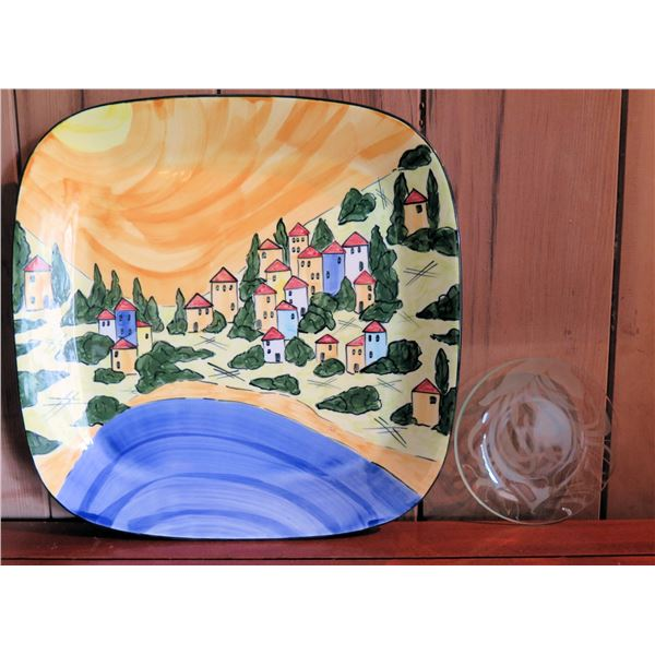 """Ann Skelly Handpainted Ceramic Plate 15"""" & Glass Etched Floral Plate 6"""""""