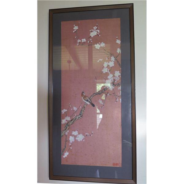 Framed Chinese Silk Painted Art, Maker's Mark