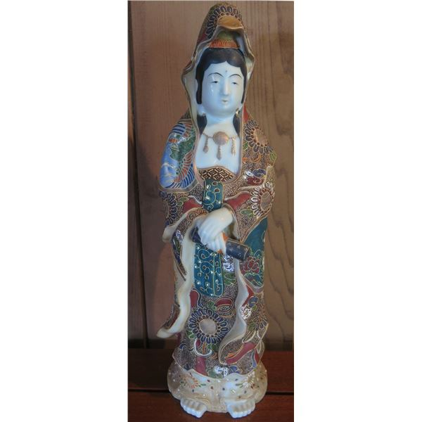 """Asian Porcelain Painted Statue, Woman 14"""" Tall"""