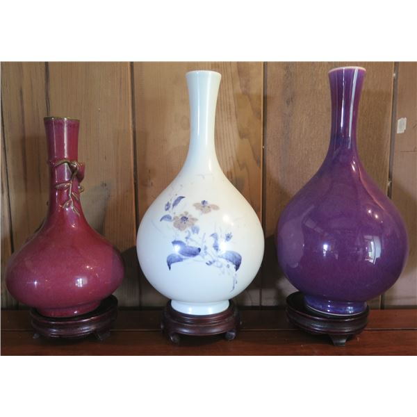 """Qty 3 Bud Vases w/ Wooden Stands 12"""" Tall"""