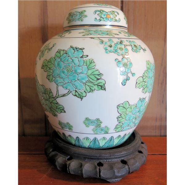 "Goldimari Hand Painted Ginger Jar w/ Wood Stand, 8""Tall"