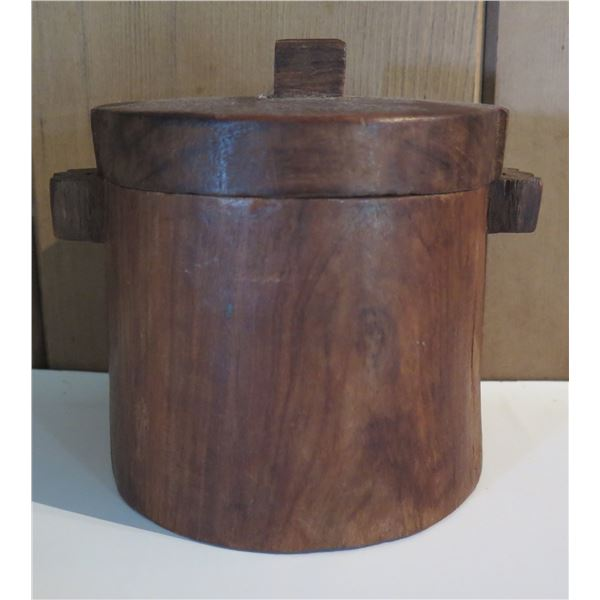 """Asian Wooden Rice/Water Container  5""""Tall"""