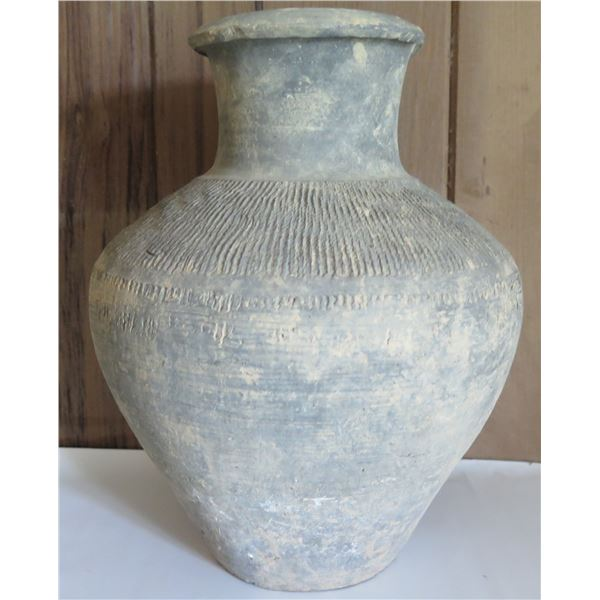 """Clay Inscribed Water Pot, Grey 10""""Tall"""