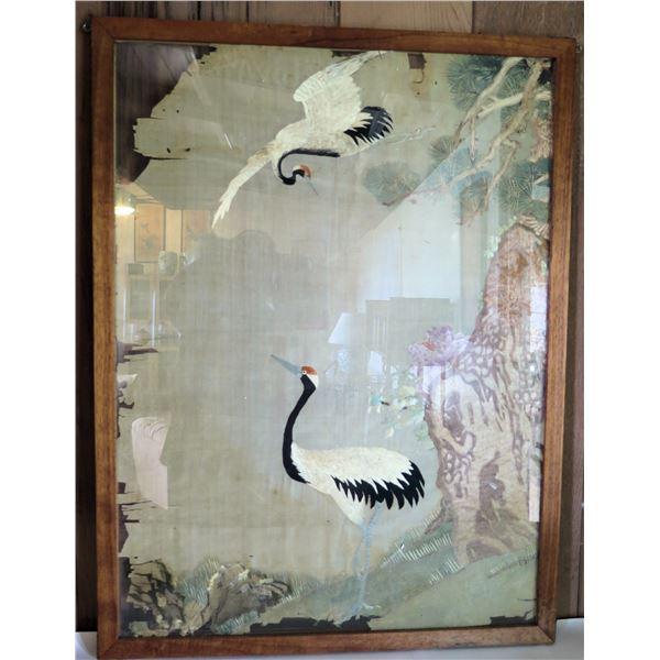 "Framed Silk Embroidered Art 24.5""x 33"""