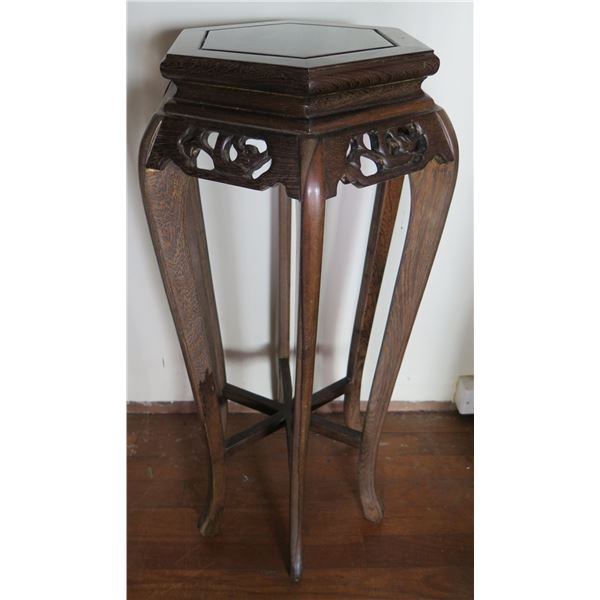 """Hexagon Wooden Stand w/ Carving, Curved Legs 12"""" W 32""""Tall"""