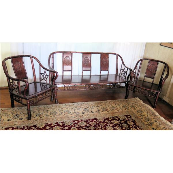"""Wooden Bench & 2 Matching Chairs, Carved Bamboo Design 42""""x21""""x31""""H, Chairs 26""""W"""