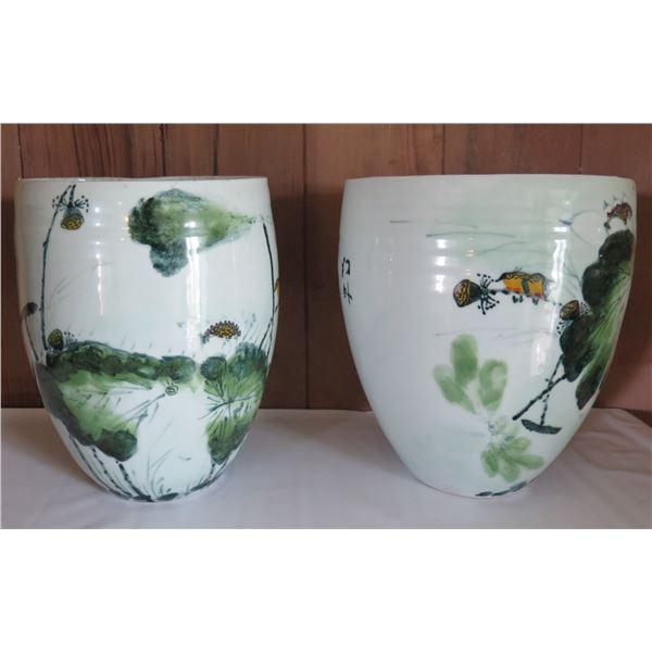 """Qty 2 Ceramic Jars w/Floral &Chinese Symbols 12"""" Tall"""