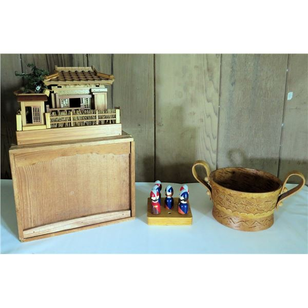 Pagoda Model w/ Wood Box, Peter Blay Wooden Pegs, Wooden Bowl w/ Handles