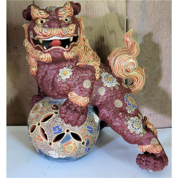 """Chinese Ceramic Painted Fu Dog on Ball 10"""" Tall"""
