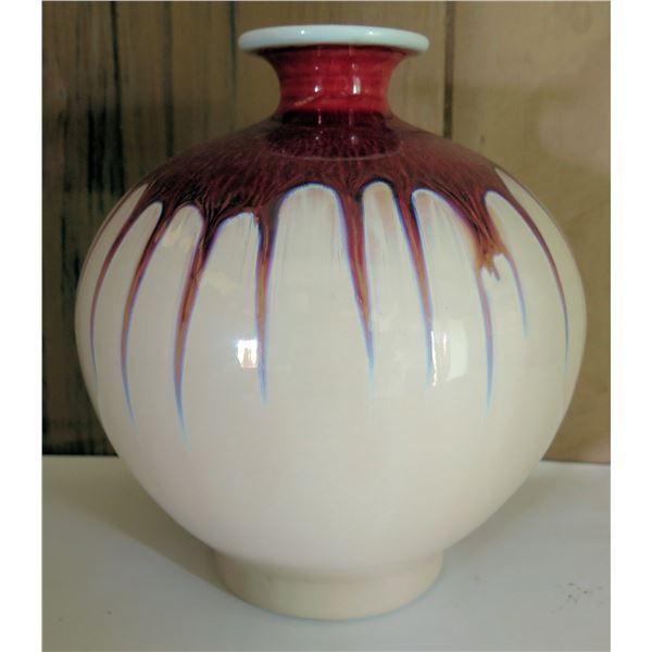 "Glazed Rounded Ceramic Bud Vase, White and Red 9.5"" Tall"