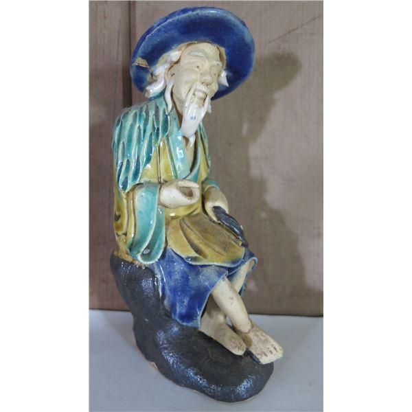 "Chinese Ceramic Figure, Sitting Man w/ Fish 6"" Tall"