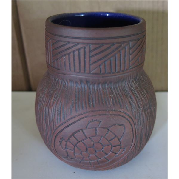 """Clay Inscribed Water Cup, Maker's Mark """"Six Nations"""" 3.5"""" Tall"""