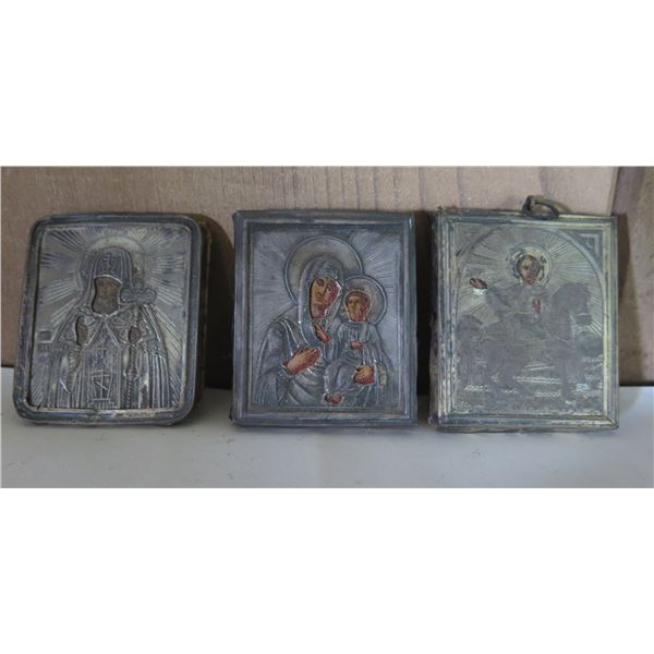 """Qty 3 Religious Metal Etched Pendants, 1.5""""W"""