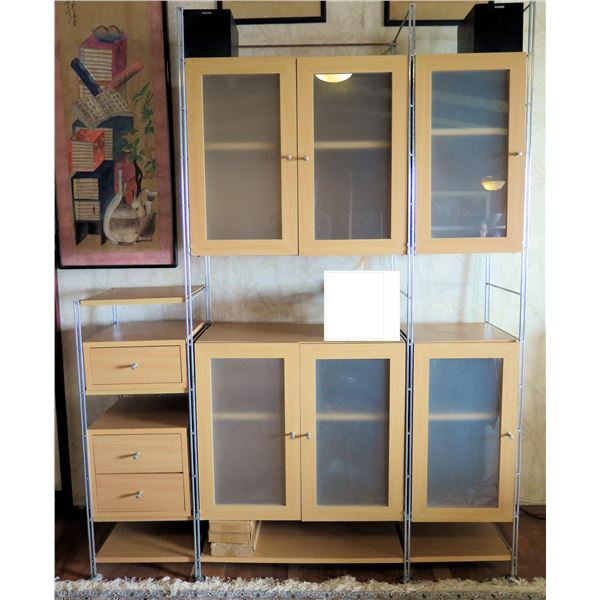 """Cabinets & 3-Drawer Stand 58""""x15""""x75.5""""H (wall art & sound system not included)"""