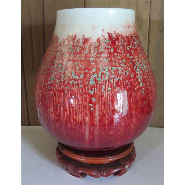 """Ceramic Urn on Wood Stand, Jingde Chaiyou Glazed Red/White & Green 11"""" Tall"""