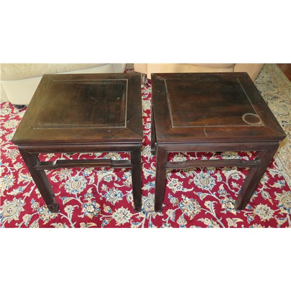"""Qty 2 Square Asian Wooden Side Tables 18""""x18""""x20"""" Tall"""