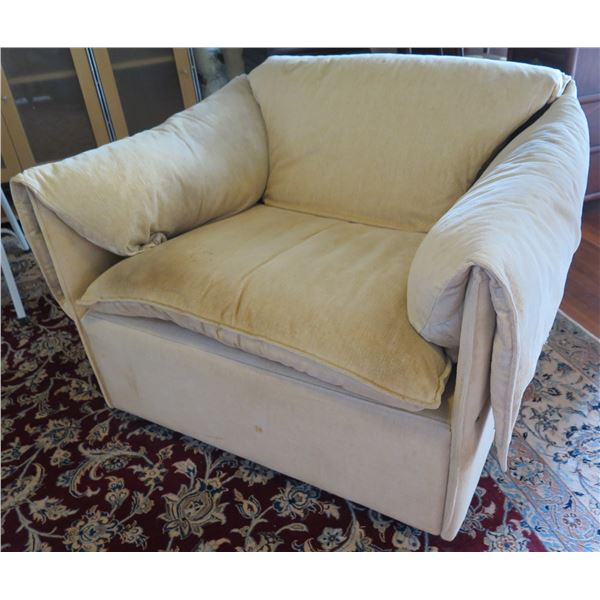 """Tan Upholstered Armchair 37""""x 21""""x 26"""" Back Ht"""