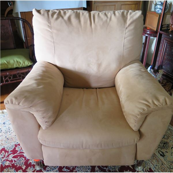 """Upholstered Suede-Like Recliner, Tan 38""""x 22""""x 39"""" Back Ht"""