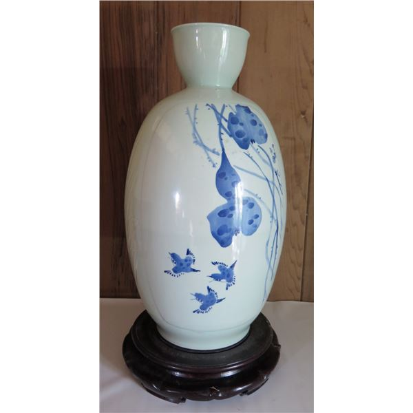 "Chinese Porcelain Bud Vase, Blue/White, Leaves & Fruits w/ Chinese Symbols 20.5"" Tall"