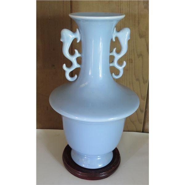 """Chinese Porcelain Bud Vase w/ Handles, Lt. Blue, Maker's Mark 12"""" Tall"""