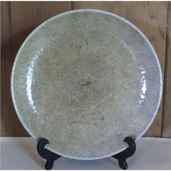 """Glazed Ceramic Plate w/Black Stand,  9"""" Dia"""