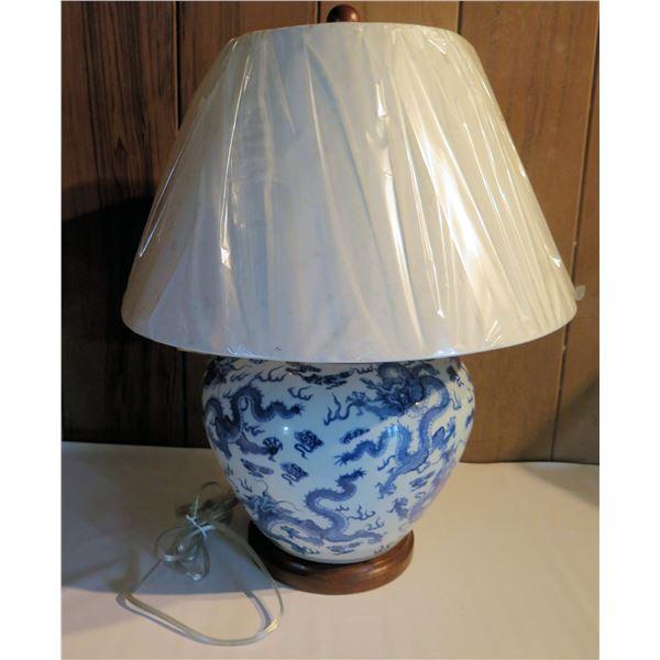 "Ralph Lauren Chinese Ginger Jar Lamp on Wood Base, Blue & White Dragon Design 22.5"" Tall"