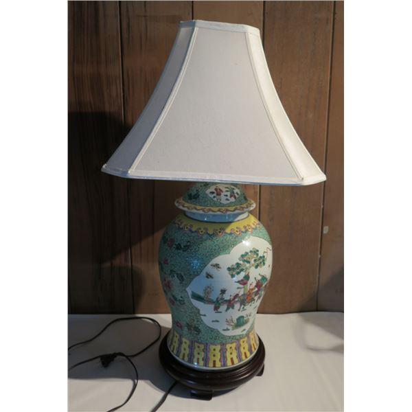 "Chinese Ginger Jar Lamp on Wood Base, Aqua, Yellow & White 30"" Tall"