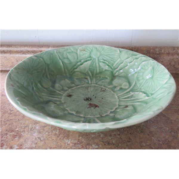 "Asian Ceramic Bowl, Celadon, 13"" Dia"