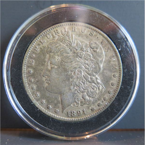 1891 Morgan Silver Dollar w/ Clear Case