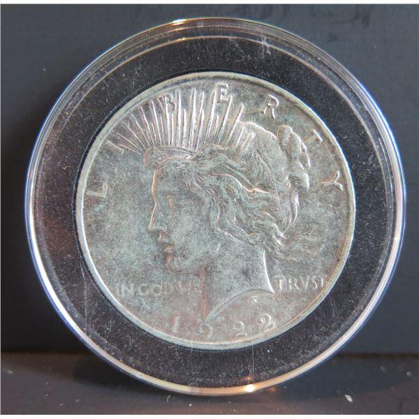 1922 Peace Silver Dollar w/ Clear Case