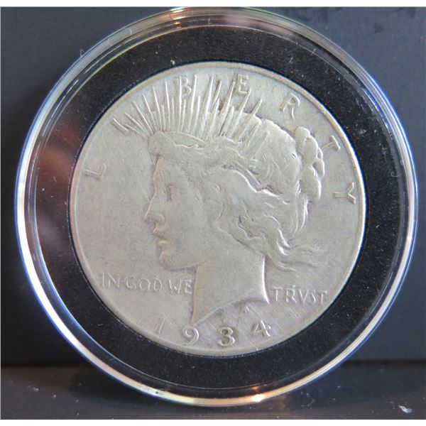 1934 Peace Silver Dollar w/ Clear Case