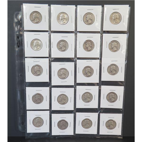 Qty 20 Washington Quarters, 1941-1957