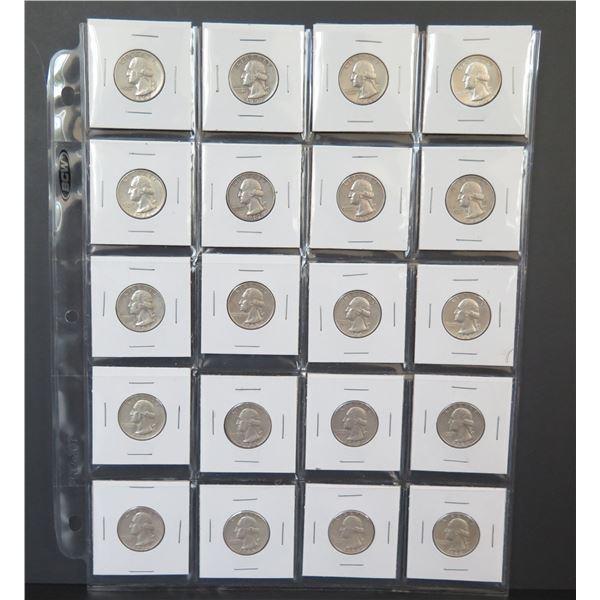 Qty 20 Washington Quarters, 1957-1964