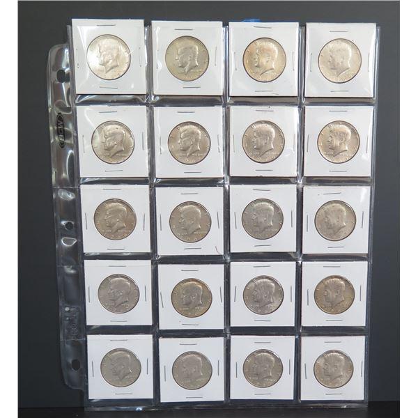 Qty 20 Kennedy Half Dollars, 1965-1967