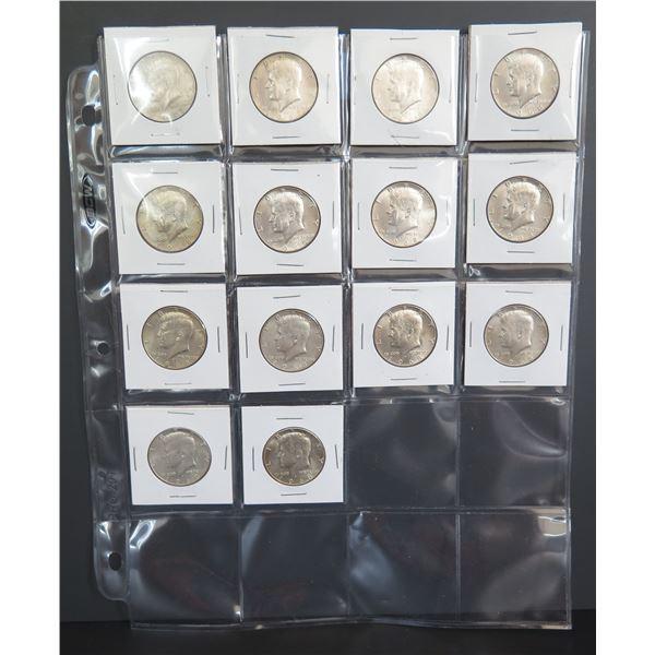 Qty 14 Kennedy Half Dollars 1967-1968