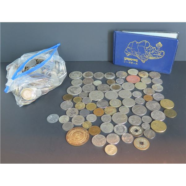 Misc. Foreign Coins in Ziploc Bag & Singapore Coin Book