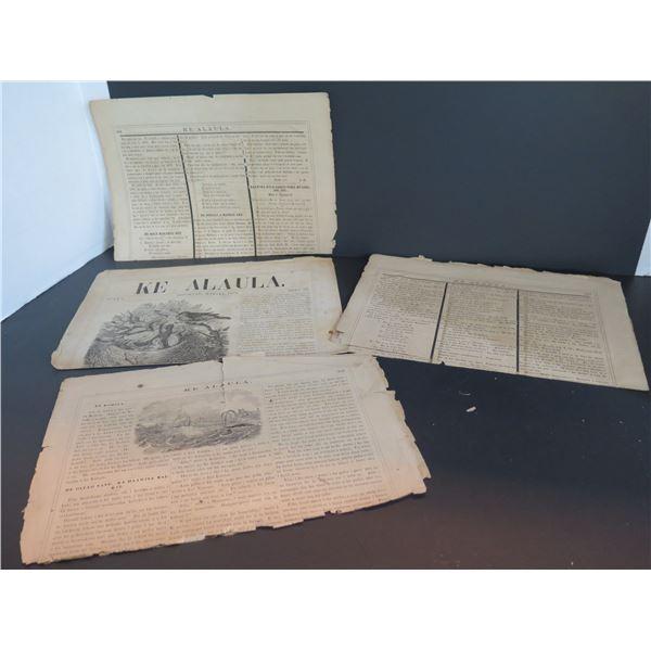 """Qty 4 Pages Historical Hawaiian Language Newspaper """"Ke Alaula"""" 1867, 1873"""