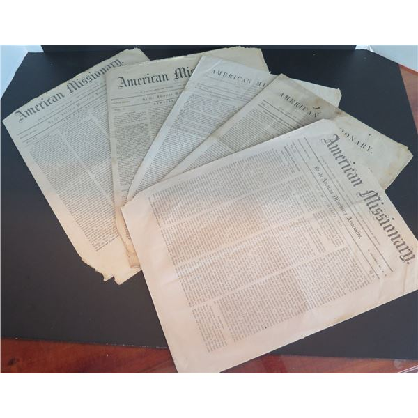 Qty 5 American Missionary Newspapers July 1850, Apr 1854, Feb 1857, March 1857, Sept 1858