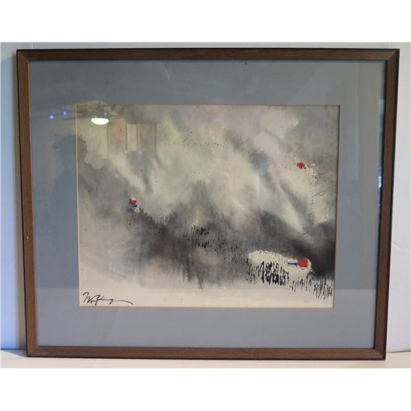 """Framed Watercolor Art, Signed Wong Ching 25""""x 21"""" (Glass Cracked)"""