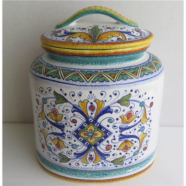 """Italian Oval Ceramic Jar w/ Lid, Handpainted, GP Deruta 8"""" Dia, 11""""Tall"""