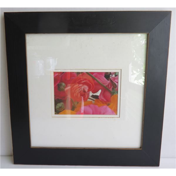 "Framed Photographic Art - Pink/Orange Flowers 15.5""x 15.75"""