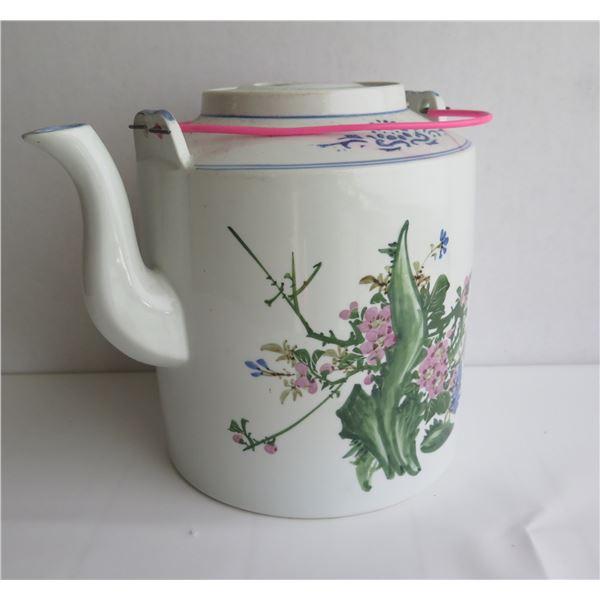 "Asian Porcelain Teapot w/ Floral Motif 9.5"" Tall"