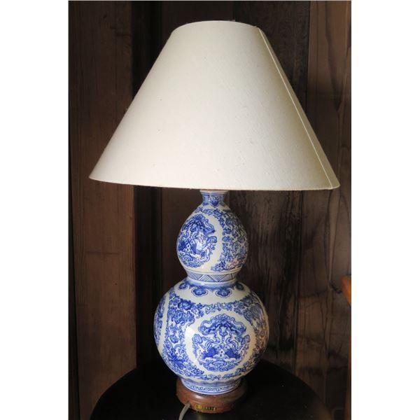 """Ralph Lauren Double-Gourd Ceramic Lamp, Blue & White, 25.5""""Tall"""