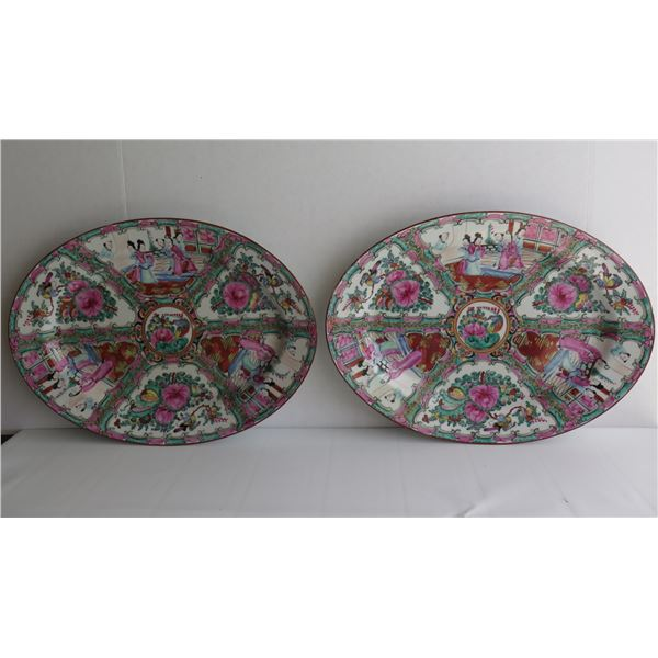 """Qty 2 Famille Rose Oval Ceramic Platters, 16""""x 12"""""""