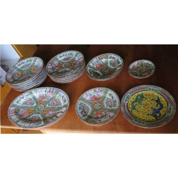 Qty 21 Famille Rose Ceramic Plates, Various Sizes