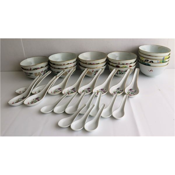Qty 36 Chinese Rice Bowls & Spoons, China Ceramic Co.