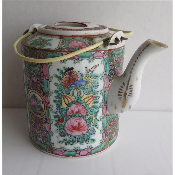 "Famille Rose Patterned Porcelain Teapot 6.5"" Tall"