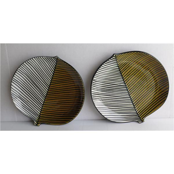"Qty 2 Ceramic Platters, Leaf Motif 10.5"" Dia"