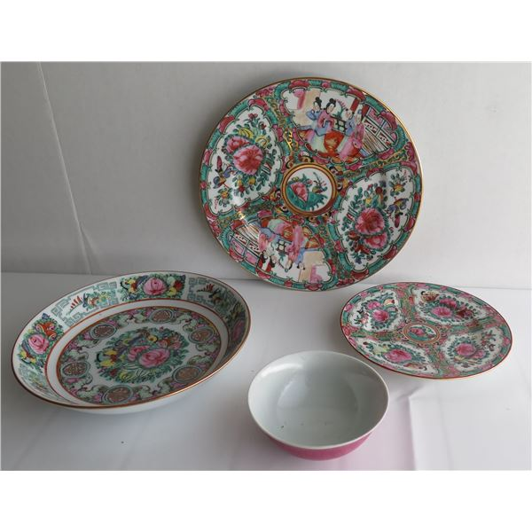 Qty 4 Famille Rose Serving Plates & Bowls, Hong Kong
