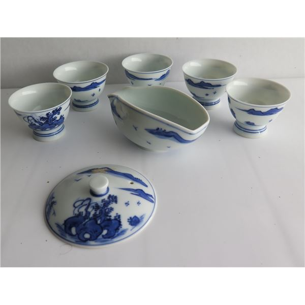 Qty 7 Assorted Chinese Ceramic Bowls & Lid
